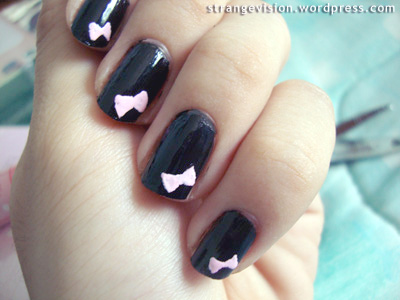 Nail art : Pink Bow + White Dots | What I have shown you is ...