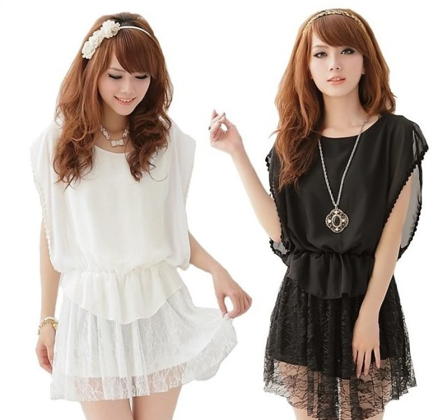 Women-Cute-chiffon-Solid-color-Lace-Patchwork-Dresses-Batwing-Loose-Lady-Elegant-Slim-Tunic-casual-Black